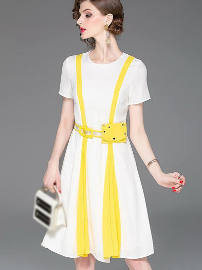 Brief Pure Color Short Sleeve Sashes O-Neck Pleated Skater Dress