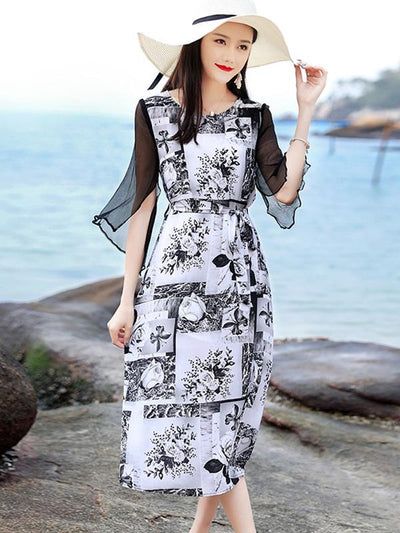 Lace Half Sleeve Slim Patchwork Mid-Calf Dress