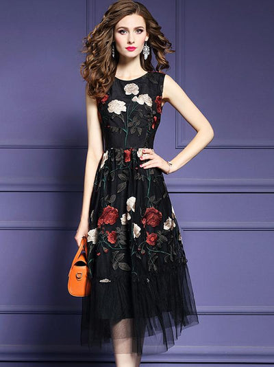 Vintage Embroidery Slim Mesh Sleeveless A-Line Dress
