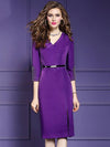 Elegant Purple Sheath V-Neck 3/4 Sleeve Bodycon Dress