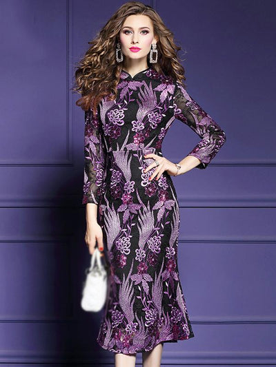 Embroidery Print O-Neck Lace Long Sleeve Cheongsam Dress