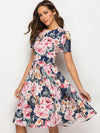 Fashion Floral Short Sleeve O-Neck A-line Sheath Skater Dress