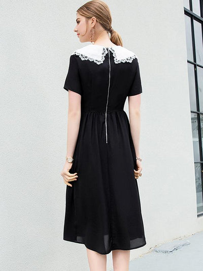 Sweet Embroidery Slim Mini Lace Turn Down Collar Skater Dress