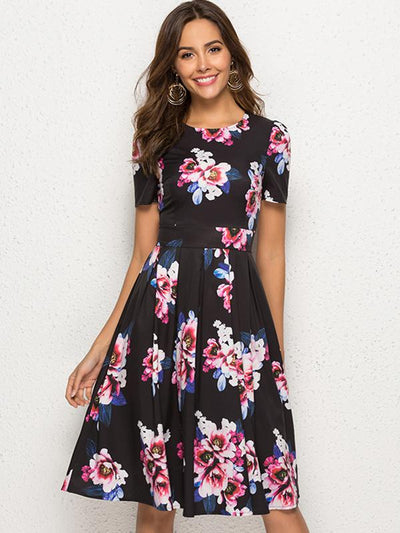Simple Black  Print Floral Short Sleeve O-Neck Pleated Dress