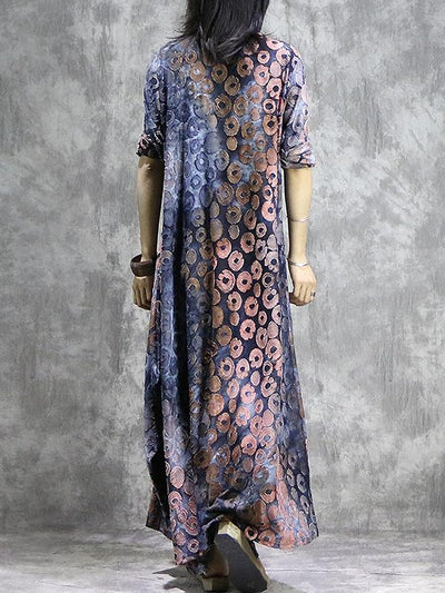 Vintage Floral Pattern Loose Asymmetrical Big Hem Shift Dress