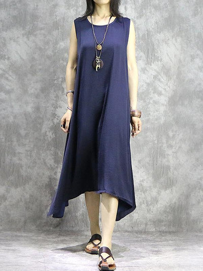 Simple Solid Color Sleeveless Asymmetrical Shift Dress
