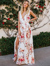 Sexy Beach Print Deep V-Neck Sleeveless Big Hem Dress