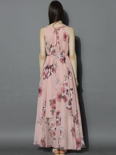 Bohemian Chiffon Print Pink O-Neck Sleeveless Halter Maxi Dress