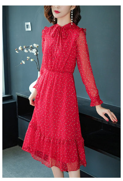 Fashion Floral Red Bow Tie Sashes Long Sleeve Skater Dress