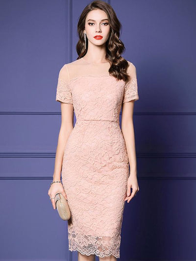 Patchwork O-Neck Short Sleeve Lace Pure Color Bodycon Dress