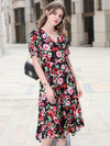 Stylish Print Silk Sashes Short Sleeve V-Neck Sheath A-line Dress