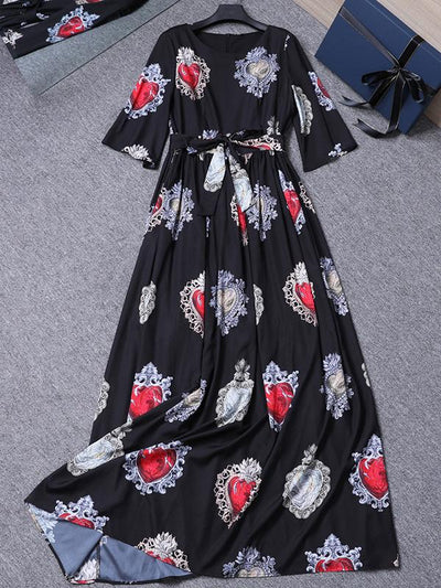 Printing Belted Slim Puff Half Sleeve Beach Maxi Dress
