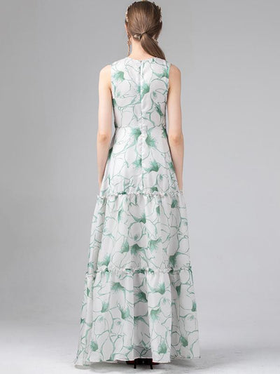 Embroidery Sleeveless Beach Slim Big Hem Maxi Dress