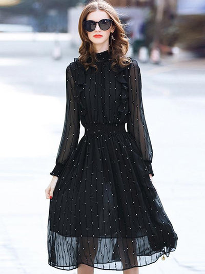 Casual Elastic Waist Spot Stand Collar Long Sleeve A-Line Dress