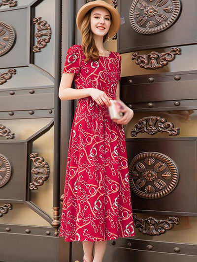 Elegant Print Red Chiffon Short Sleeve O-Neck A-line Maxi Dress
