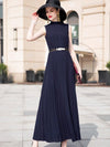 Elegant Slim Sleeveless Chiffon Pleated Skater Dress