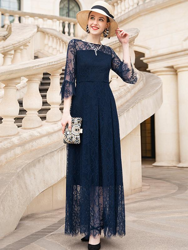 Fashion Lace Sleeve Slim Elegant Skater Big Hem Dress