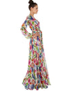 Sexy Bohemia Print Long Sleeve V-Neck Big Hem Long Dress