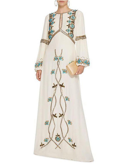 Casual Bohemia Embroidery Flare Sleeve Falbala Maxi Beach Dress