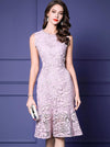 Sweet Pink Lace High Waist Slim Sleeveless Bodycon Dress