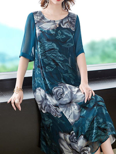 Fashion Floral Pattern Half Sleeve Straight Shift Dress