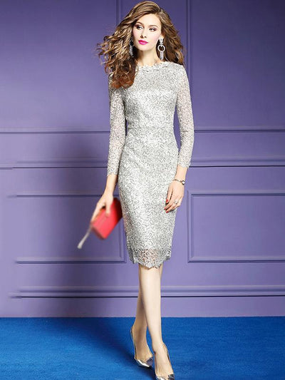 Elegant Pure Color Half Sleeve Stitching O-Neck Bodycon Dress