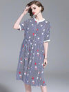 Fashion Silm Print Strip Short Sleeve Stand Collar Skater Shirt Dress