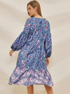 Holiday Behomia Puff Sleeve V-Neck Print Big Hem Maxi Shift Dress