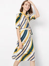 Fashion Strip Bow Tie Silk Half Sleeve Midi Skater Dress