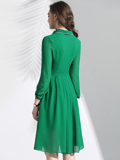 Chic Green Turn Down Collar Slim Belted A-Line Dress