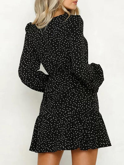 Sexy Black V-Neck Polka Dots Long Sleeve Mini Skater Dress