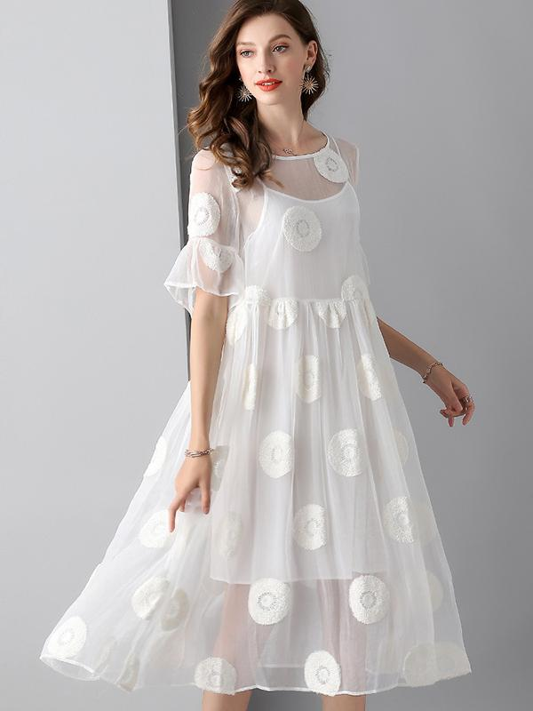 Lovely O-Neck Puff Sleeve High Waist Mesh Skater Dress