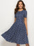 Vintage Print Short Sleeve O-Neck Midi A-line Dress