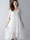 Sweet White Silk V-Neck Lacing Big Hem Skater Dress