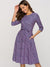 Vintage Purple Floral 3/4 Sleeve A-line Dress