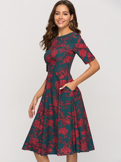 Print Backless Vintage Half Sleeve O-Neck Big Hem Skater Dress