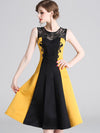 Elegant Sleeveless Slim Lace Party Patchwork Skater Dress