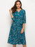 Casual Sashes Print 3/4 Sleeve V-Neck Sheath Skater Dress