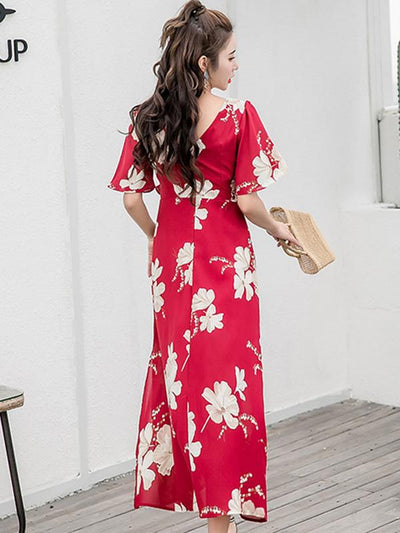 Bohemia Lacing V-Neck Backless Split Big Hem Maxi Dress