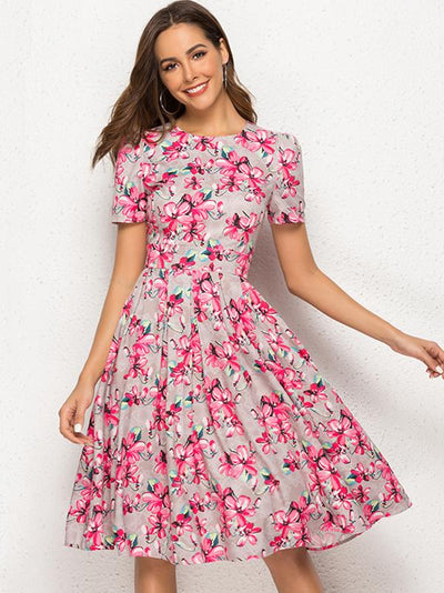 Chic Vintage Short Sleeve O-Neck Sheath Skater Dress