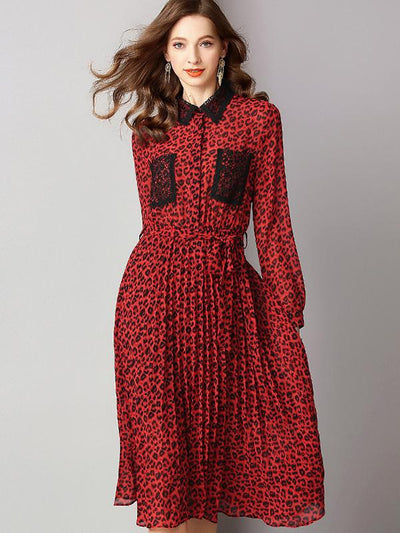 Fashion Leopard Lace Turn Down Collar Long Sleeve A-Line Dress