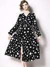 Chic Ploka Dots Falbala V-Neck Long Sleeve Skater Maxi Dress