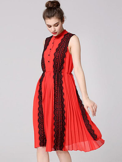 Fashion Lace Orange Stand Collar Chiffon Sleeveless A-line Dress