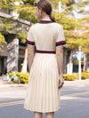 Casual Gathered Waist Slim O-Neck Short Sleeve Skater Dress