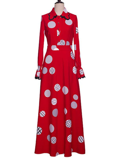 Vintage Red Spot Turn Down Collar Puff Sleeve Shirt Maxi Dress