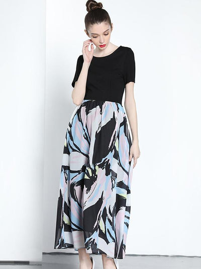 Fake Two Piece O-Neck Floral Pattern Slim Skater Maxi Dress