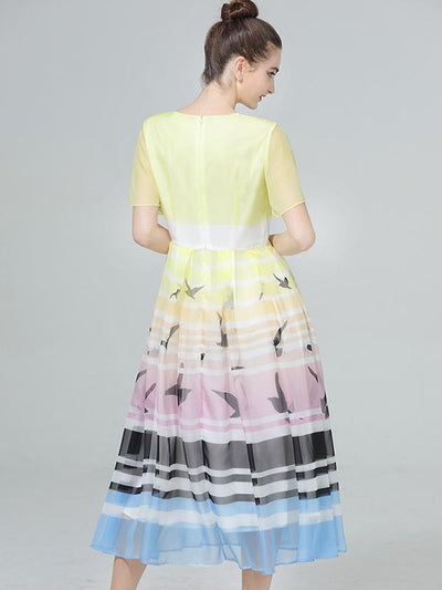 Bohemia Chiffon Short Sleeve Square Collar Beach Skater Dress
