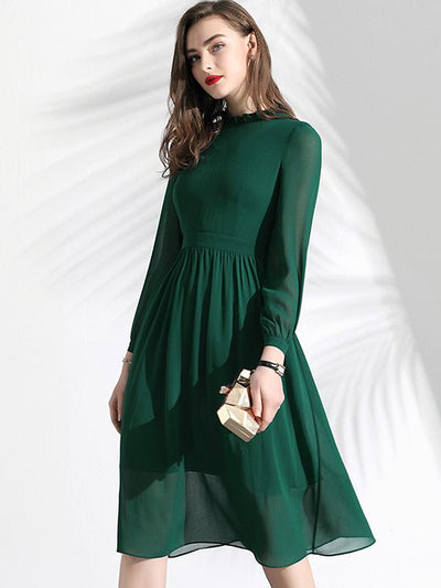 Elegant Pure Color Long Sleeve O-Neck Slim Pleated A-Line Dress