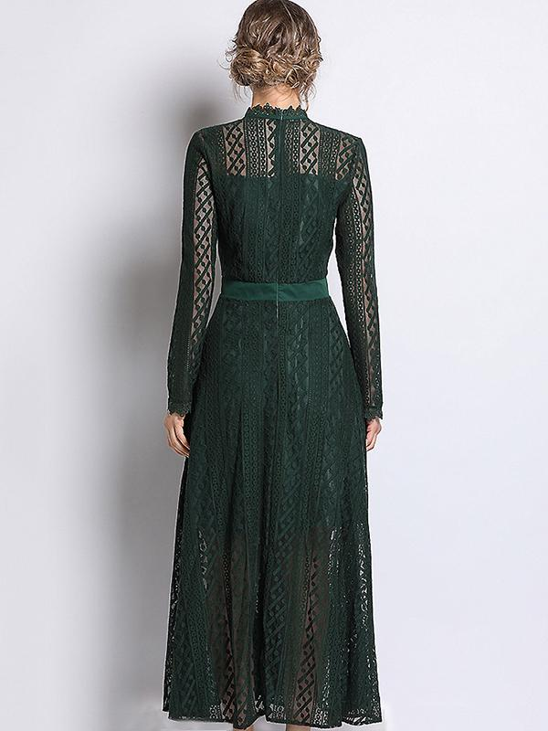Hollow Out Lace Solid Stand Collar Long Sleeve Big Hem Dress