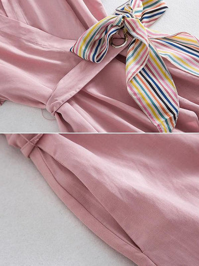 Sweet Pink Pleated Turn Down Neck Lacing Shirt Skater Dress